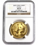 中国 パンダ500元 1オンス金貨 2005年銘 NGC社MS69