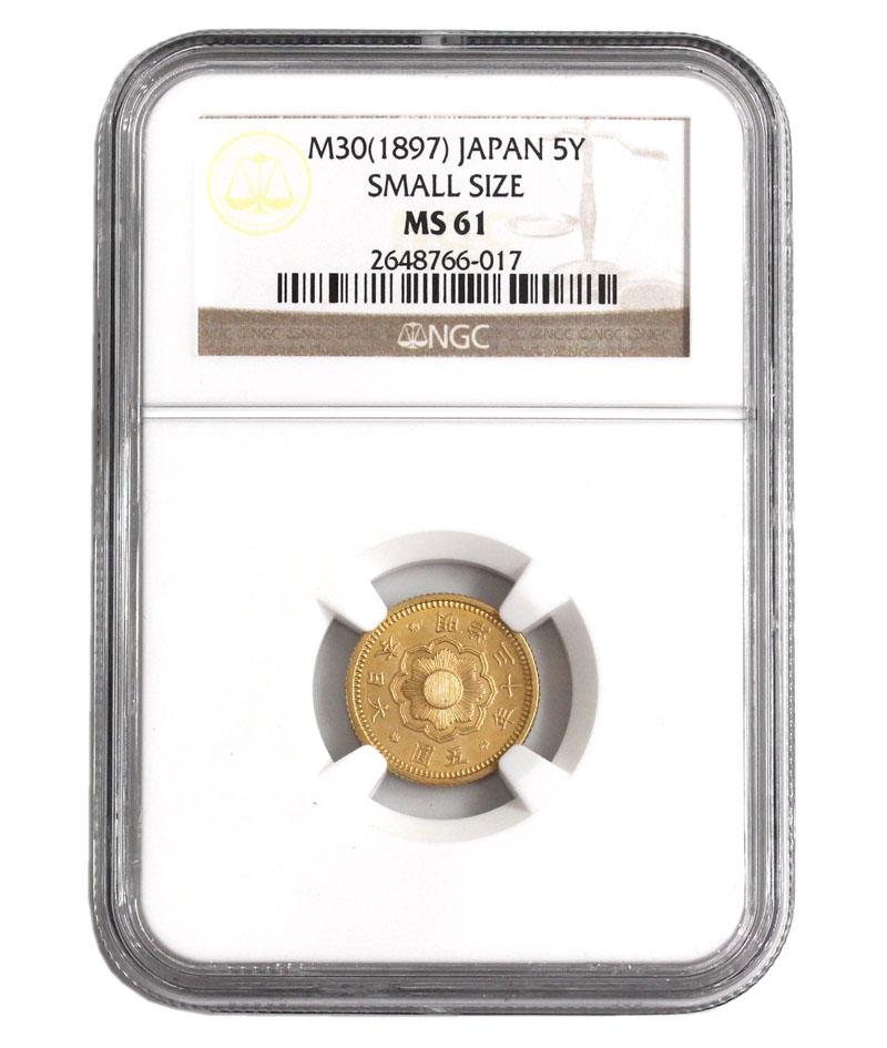 日本 1897年 新5圓金貨 NGC社MS61