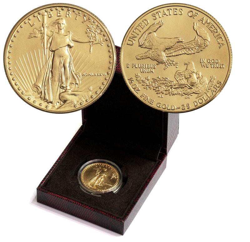 アメリカン 1986年イーグル金貨 25ドル 1/2オンス完未品